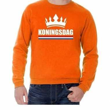 Oranje koningsdag een kroon trui volwassenen