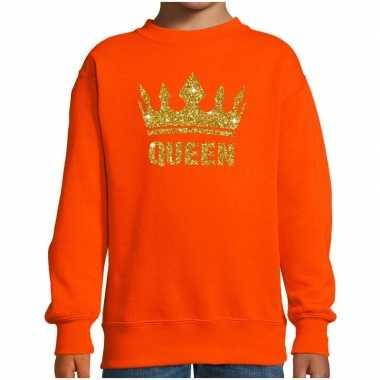 Oranje koningsdag gouden glitter queen trui kinderen