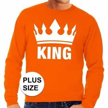 Oranje koningsdag king kroon grote maten trui / trui heren