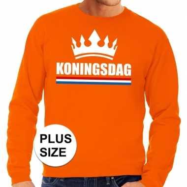 Oranje koningsdag kroon grote maten trui / trui heren
