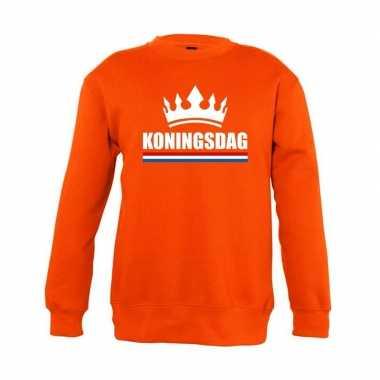 Oranje koningsdag kroon trui kinderen