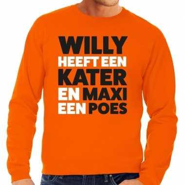 Oranje koningsdag maxi heeft een poes trui heren