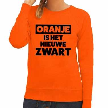 Oranje koningsdag oranje is nieuwe zwart trui dames