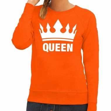 Oranje koningsdag queen trui dames