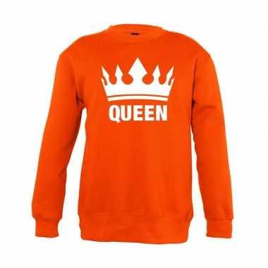 Oranje koningsdag queen trui kinderen