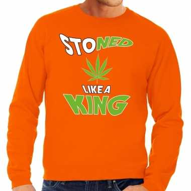 Oranje koningsdag stoned like a king trui heren