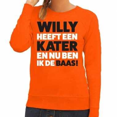 Oranje koningsdag willy heeft een kater trui dames