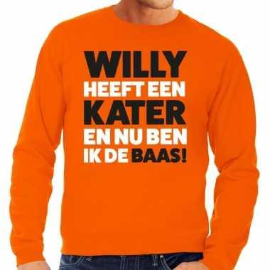 Oranje koningsdag willy heeft een kater trui heren