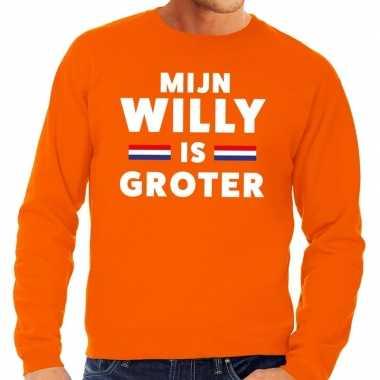 Oranje mijn willy is groter trui heren
