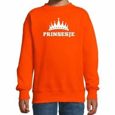 Oranje prinsesje kroon trui meisjes