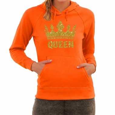 Oranje queen gouden glitter kroon hoodie / hooded trui dames