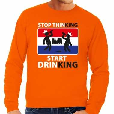 Oranje stop thinking start drinking trui heren