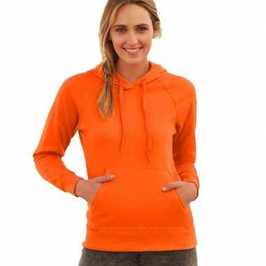 Oranje trui/hoodie capuchon dames