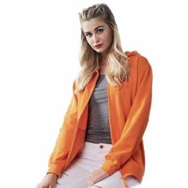 Oranje trui/jasje capuchon dames
