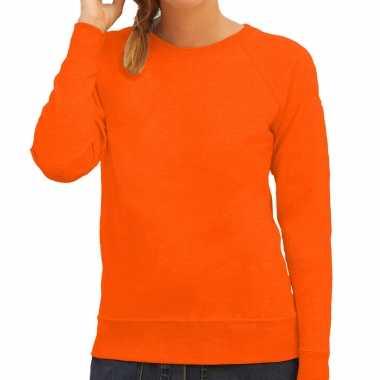 Oranje trui / sweatshirt trui raglan mouwen ronde hals dames