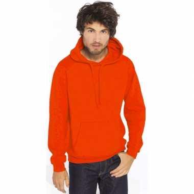 Oranje trui/trui hoodie heren