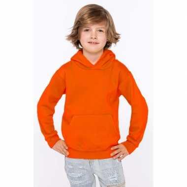 Oranje trui/trui hoodie jongens