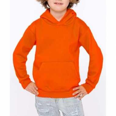 Oranje trui/trui hoodie meisjes