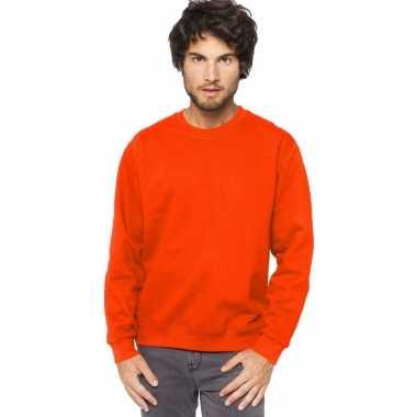 Oranje trui/trui katoenmix heren