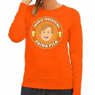 Oranje vereniging prins pils trui oranje dames