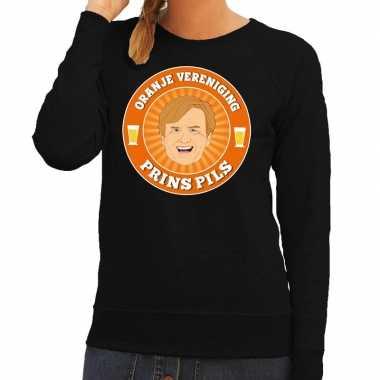 Oranje vereniging prins pils trui zwart dames