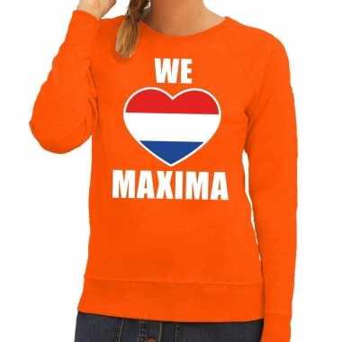 Oranje we love maxima trui dames