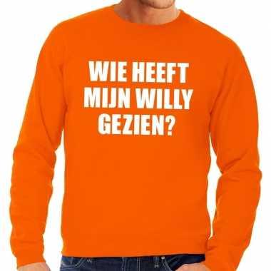 Oranje wie heeft mijn willy gezien trui heren