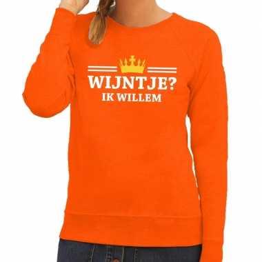 Oranje wijntje ik willem trui dames
