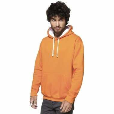 Oranje/witte trui/trui hoodie heren