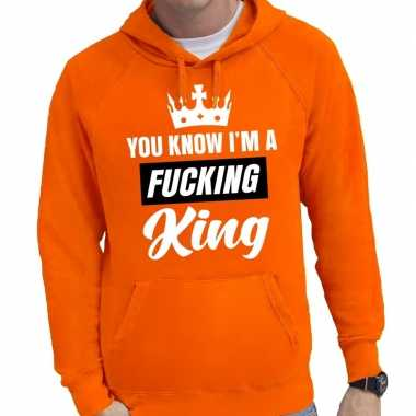 Oranje you know i am a fucking king hooded trui heren