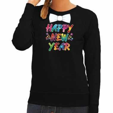Oud nieuw trui happy new year vlinderdas zwart dames