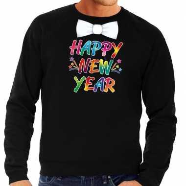Oud nieuw trui happy new year vlinderdas zwart heren