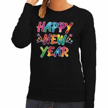 Oud nieuw trui / trui happy new year zwart dames