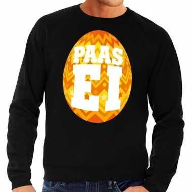 Paas trui zwart oranje ei heren