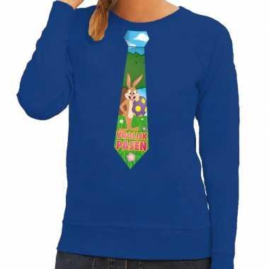 Paashaas stropdas vrolijk pasen trui blauw dames