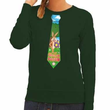 Paashaas stropdas vrolijk pasen trui groen dames