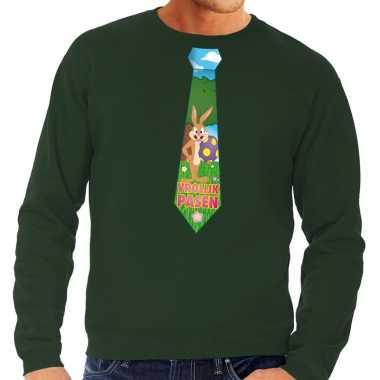Paashaas stropdas vrolijk pasen trui groen heren
