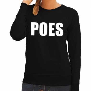 Poes tekst trui / trui zwart dames