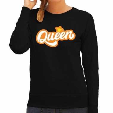 Queen koningsdag trui / trui zwart dames