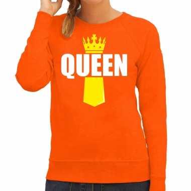 Queen kroontje koningsdag trui / trui oranje dames