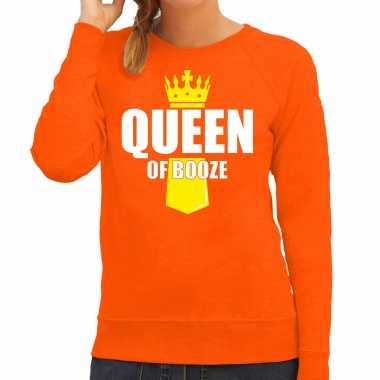 Queen of booze kroontje koningsdag trui / trui oranje dames