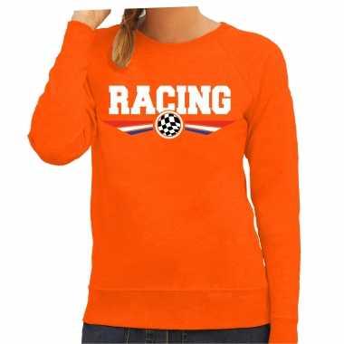 Racing coureur supporter trui / trui nederlandse vlag oranje dames