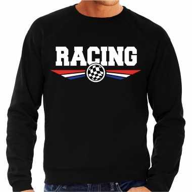 Racing race fan trui / trui zwart heren