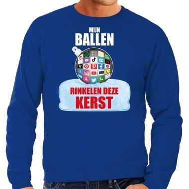 Rinkelende kerstbal trui / kerst outfit mijn ballen rinkelen deze kerst blauw heren