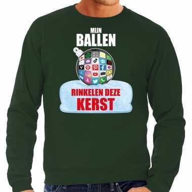 Rinkelende kerstbal trui / kerst outfit mijn ballen rinkelen deze kerst groen heren