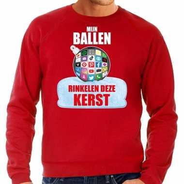 Rinkelende kerstbal trui / kerst outfit mijn ballen rinkelen deze kerst rood heren