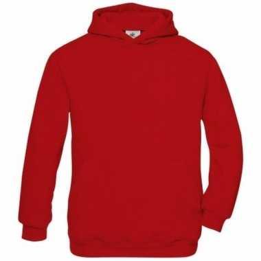 Rode katoenmix trui met capuchon voor meisjes