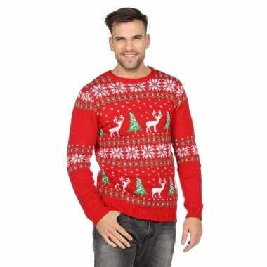 Rode kerst trui rendieren kerstbomen heren