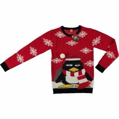 Rode kersttrui pinguin volwassenen