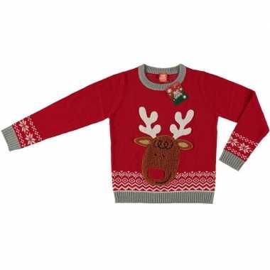 Rode kersttrui rendier kinderen